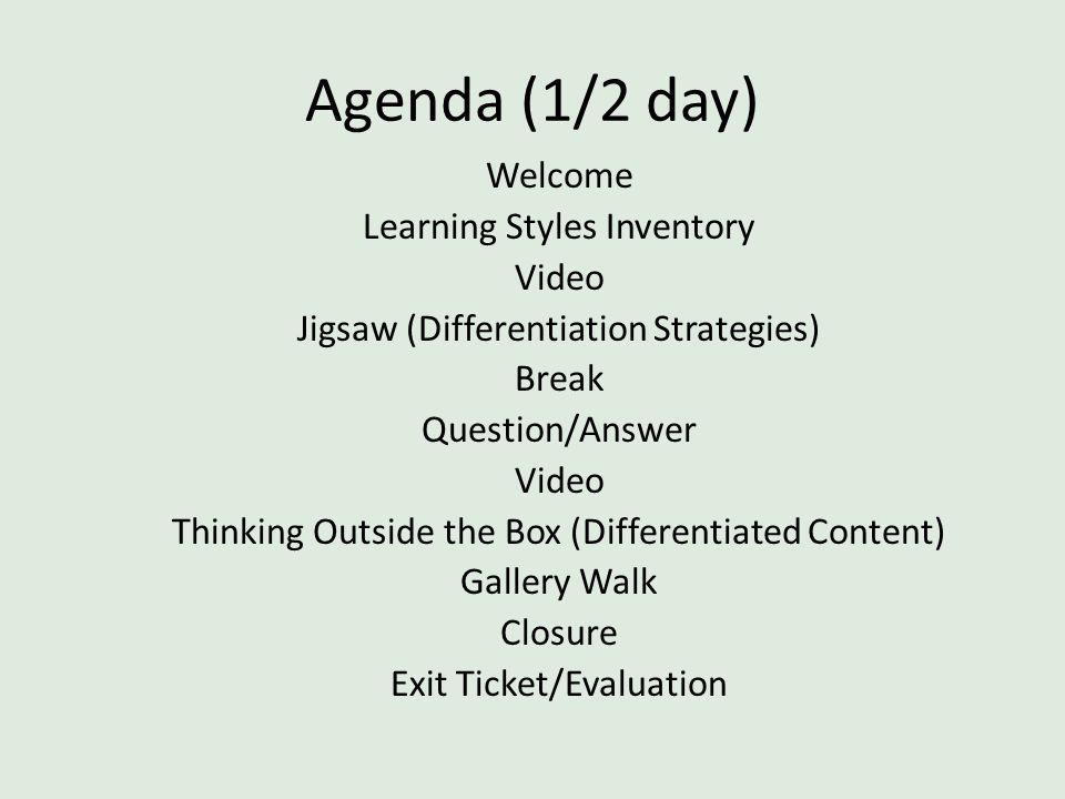 Agenda (1/2 day)