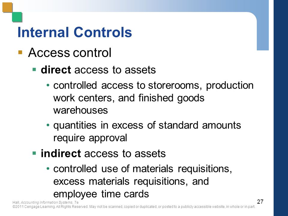 Internal Controls Access control direct access to assets
