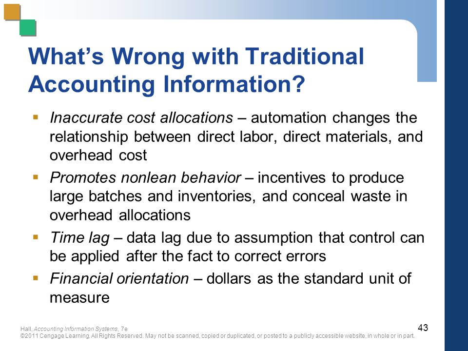 What's Wrong with Traditional Accounting Information