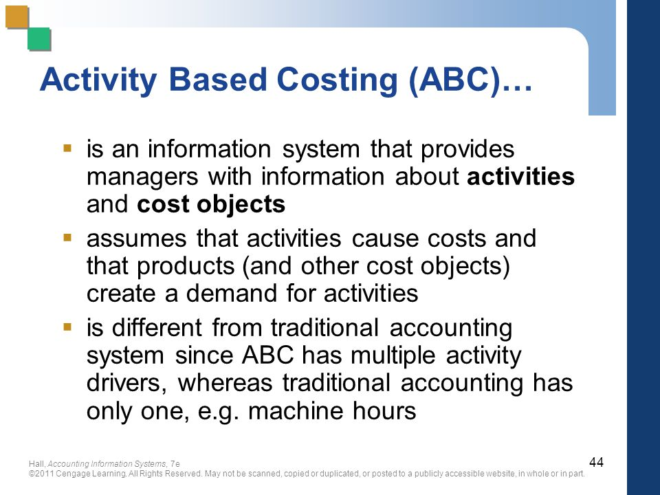 Activity Based Costing (ABC)…