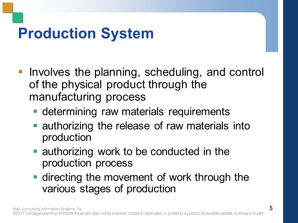 Production System Involves the planning, scheduling, and control of the physical product through the manufacturing process.