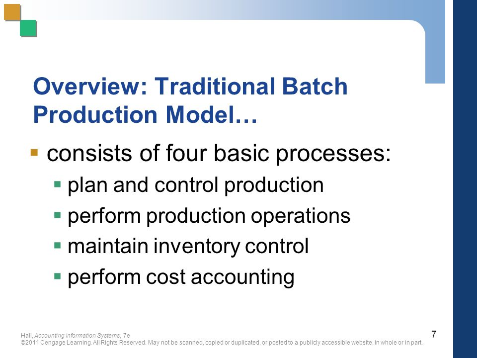 Overview: Traditional Batch Production Model…
