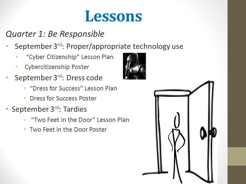 Lessons Quarter 1: Be Responsible