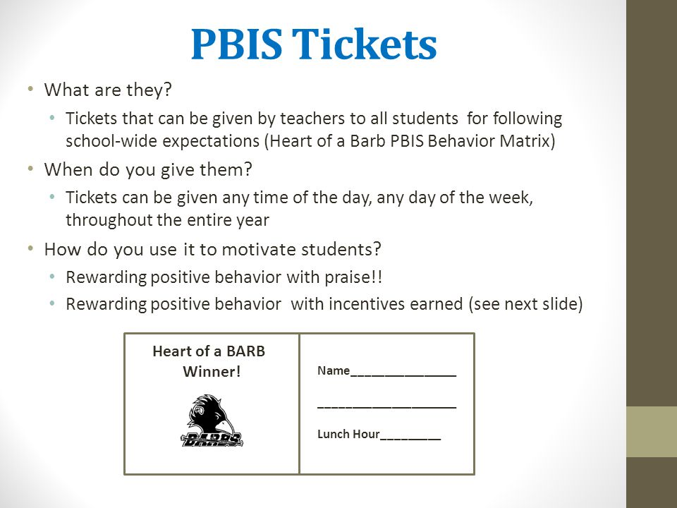 PBIS Tickets What are they When do you give them