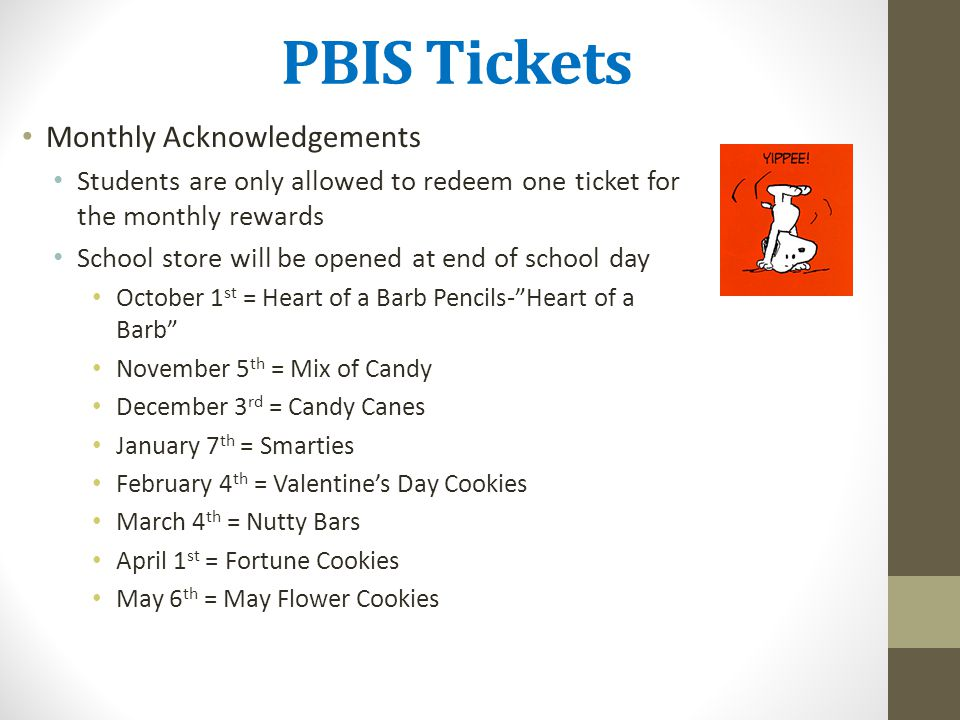 PBIS Tickets Monthly Acknowledgements