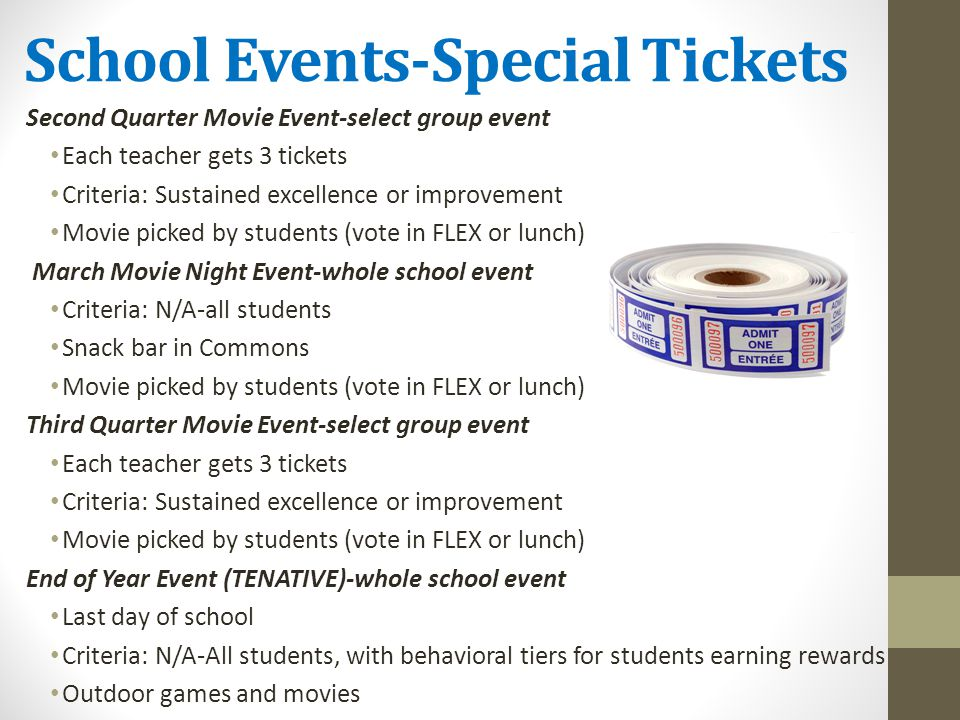 School Events-Special Tickets
