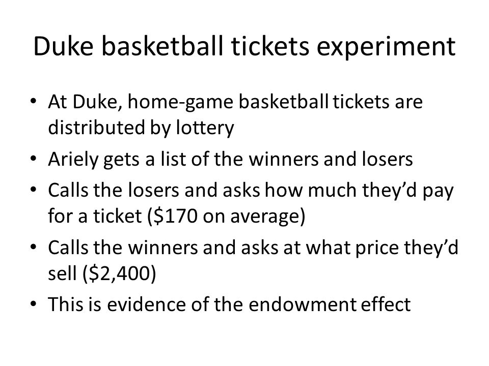 Duke basketball tickets experiment
