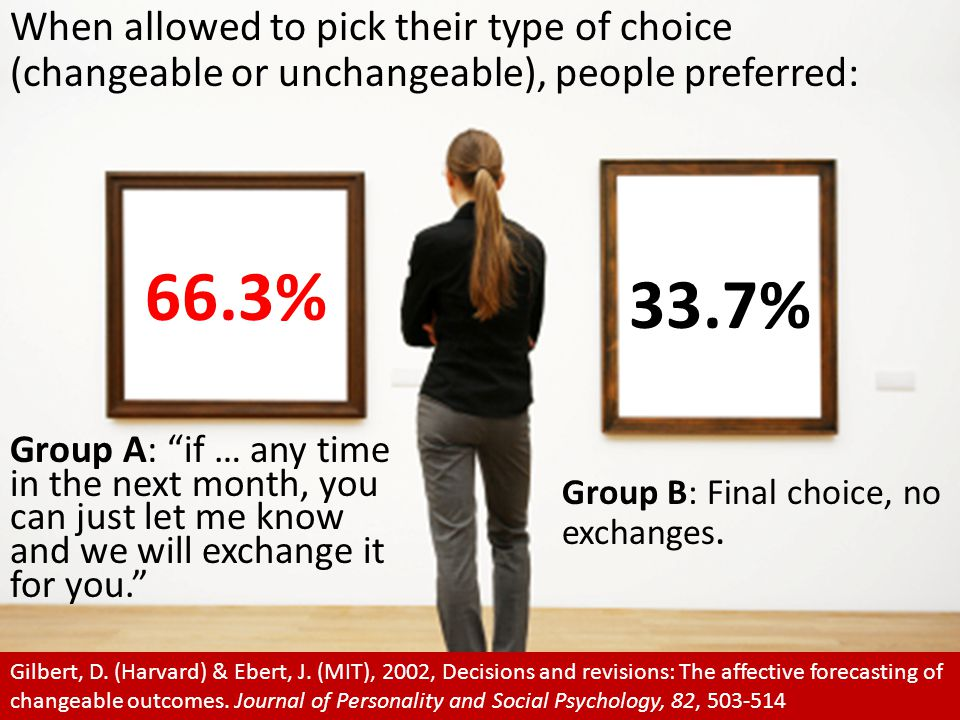 When allowed to pick their type of choice (changeable or unchangeable), people preferred: