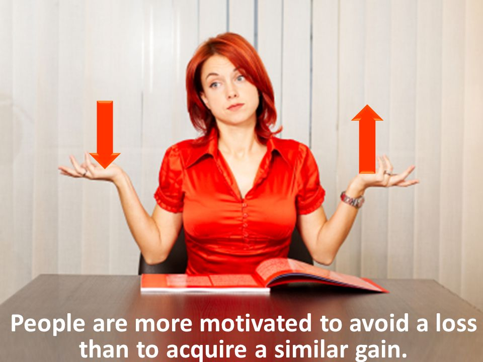People are more motivated to avoid a loss than to acquire a similar gain.