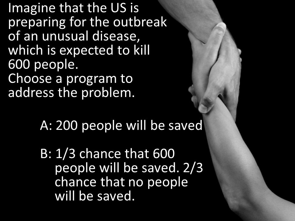 Imagine that the US is preparing for the outbreak of an unusual disease, which is expected to kill 600 people. Choose a program to address the problem.