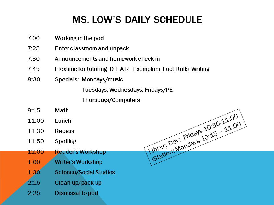 Ms. Low's Daily Schedule