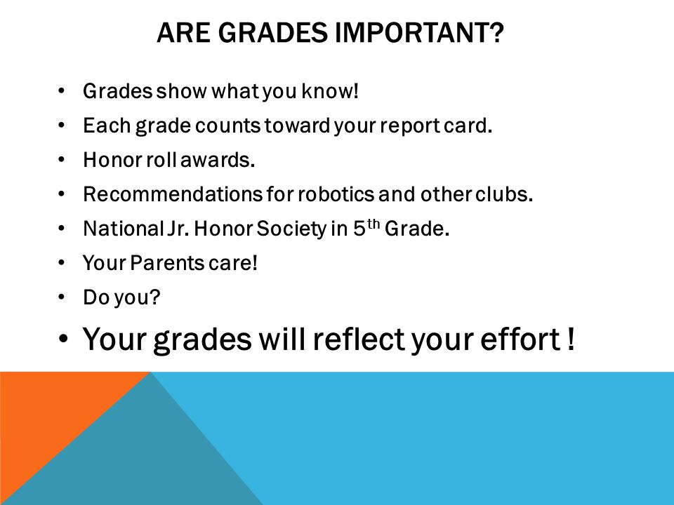 Your grades will reflect your effort !