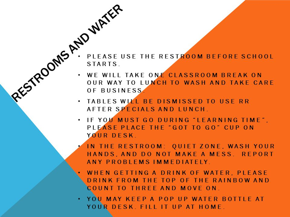 Restrooms and water Please use the restroom before school starts.