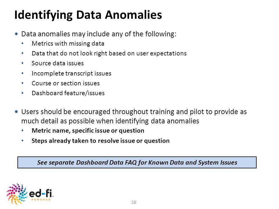 Identifying Data Anomalies