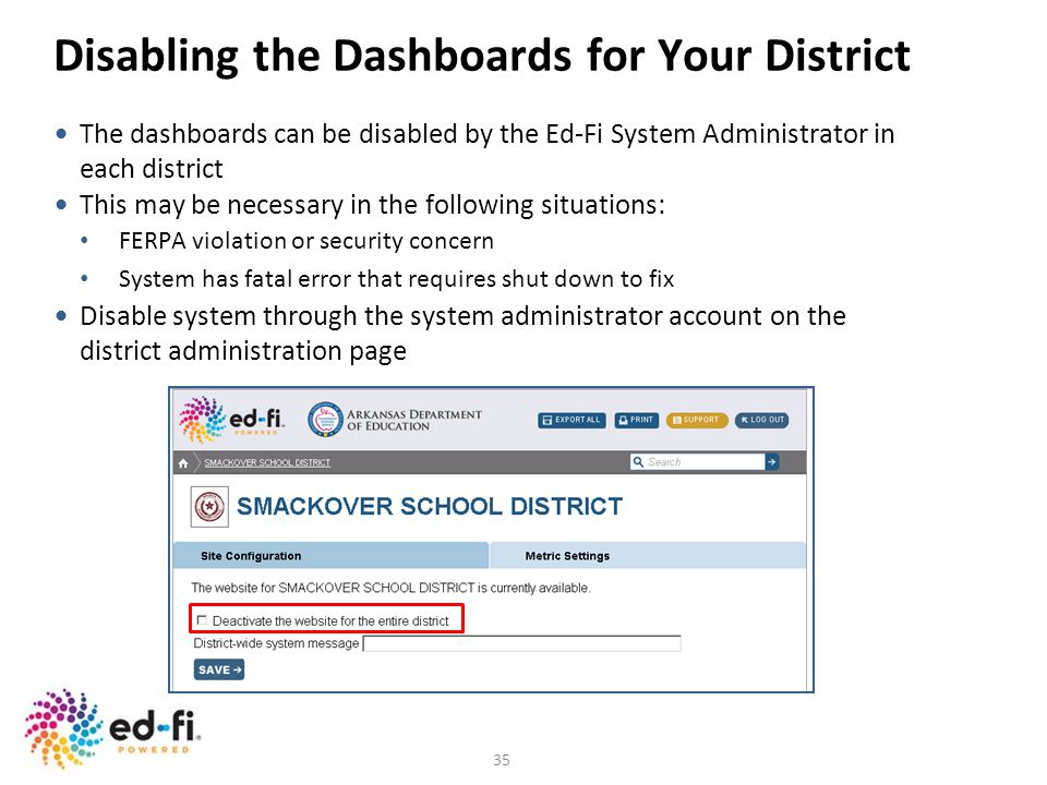 Disabling the Dashboards for Your District