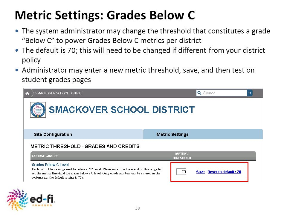Metric Settings: Grades Below C