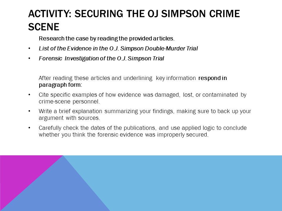 Activity: Securing the OJ Simpson Crime Scene
