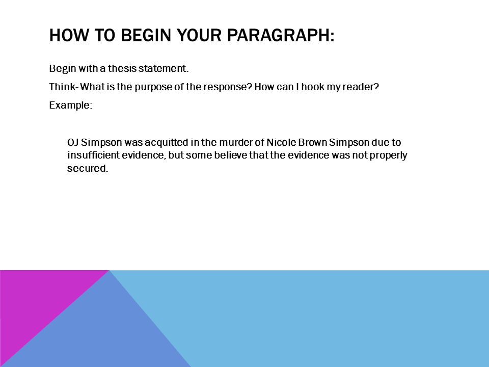 How to begin your Paragraph: