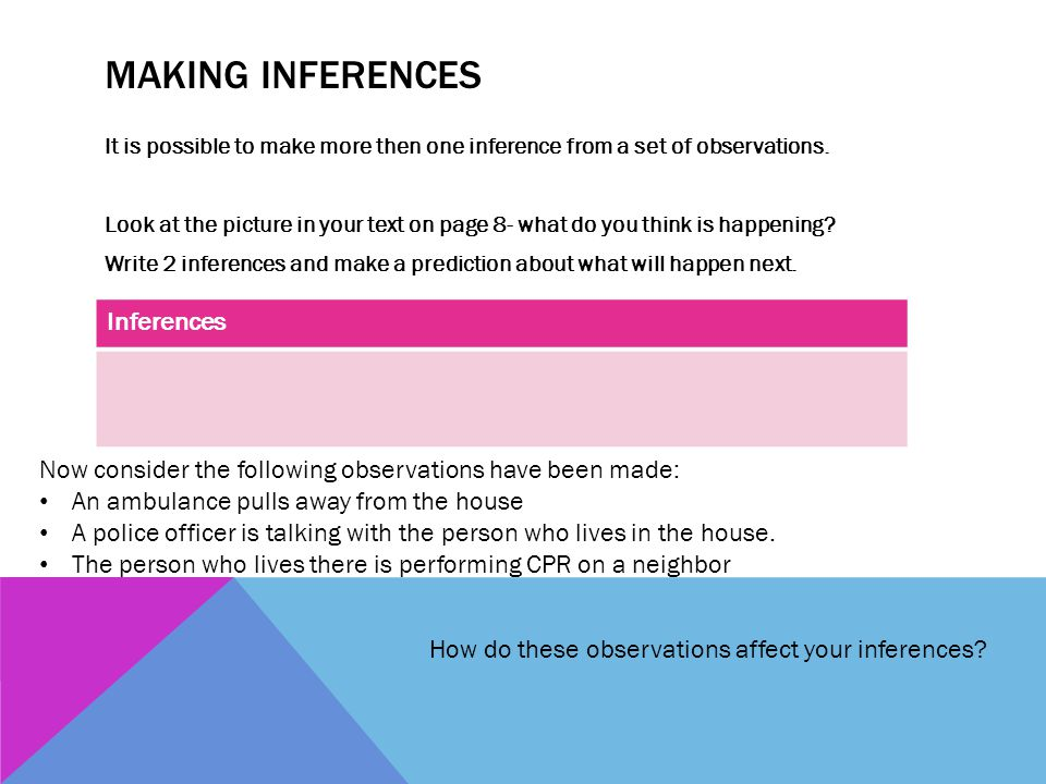 Making Inferences Inferences