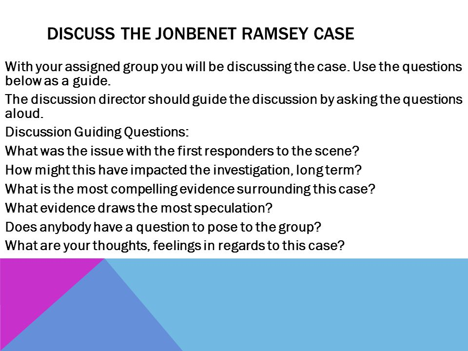 Discuss the JonBenet Ramsey Case
