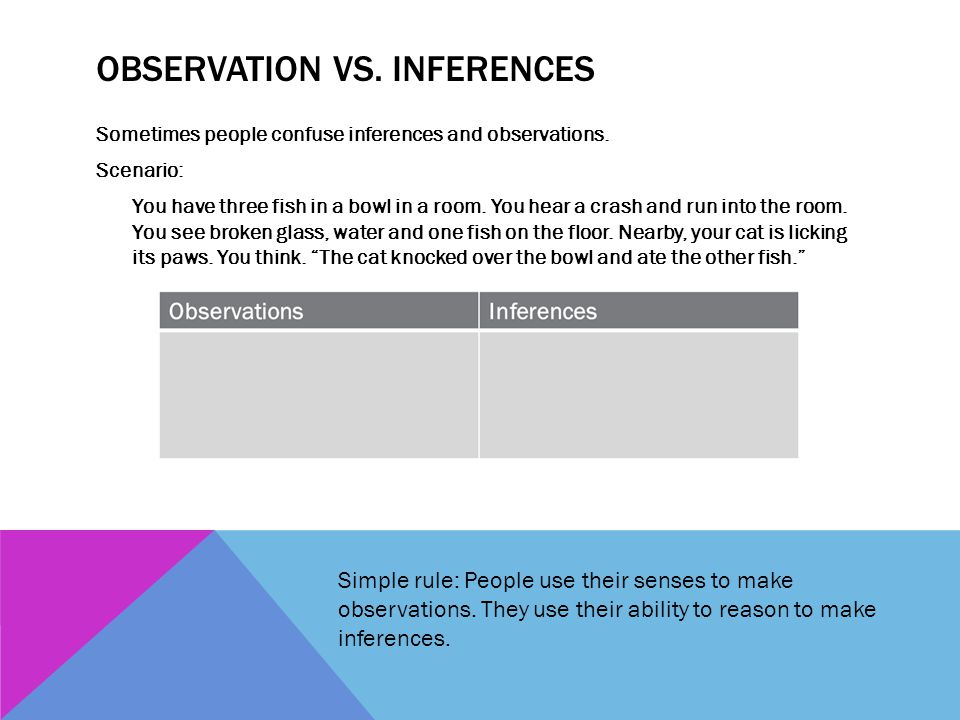 Observation vs. Inferences