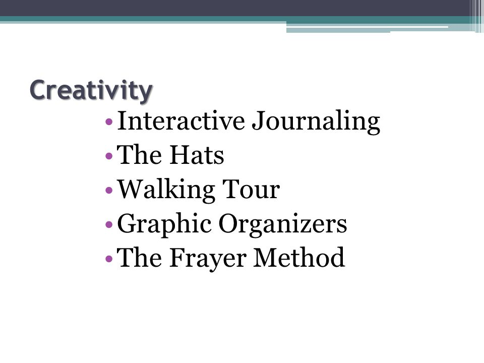 Creativity Interactive Journaling The Hats Walking Tour Graphic Organizers The Frayer Method