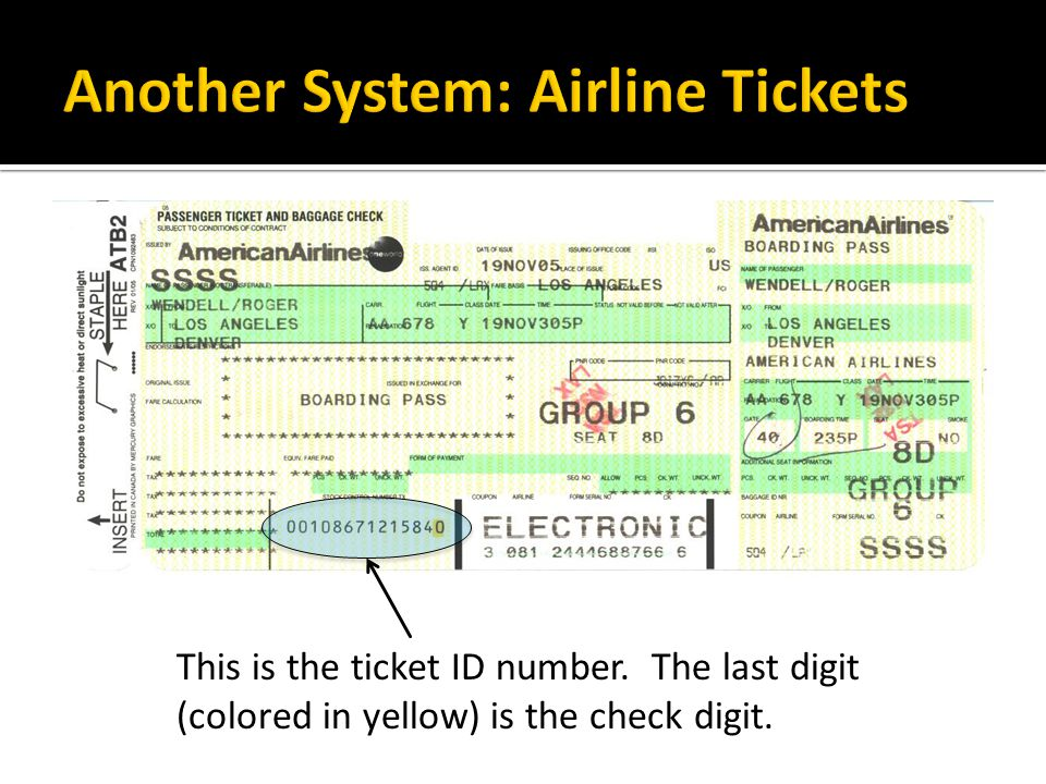 Another System: Airline Tickets