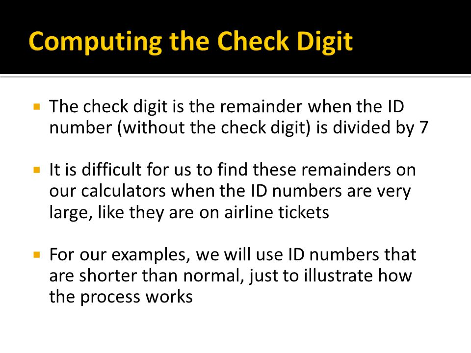 Computing the Check Digit