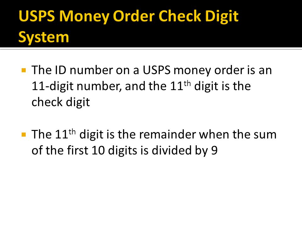 USPS Money Order Check Digit System