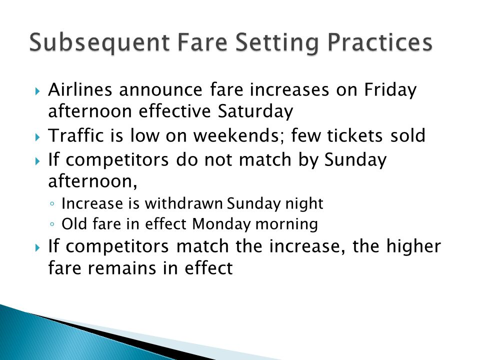 Subsequent Fare Setting Practices