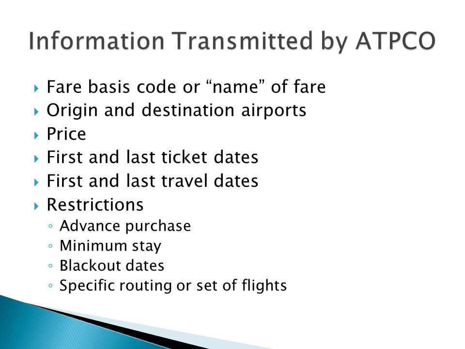 Information Transmitted by ATPCO
