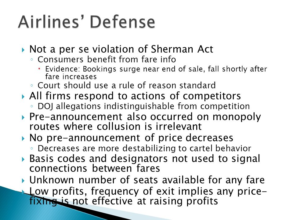 Airlines' Defense Not a per se violation of Sherman Act