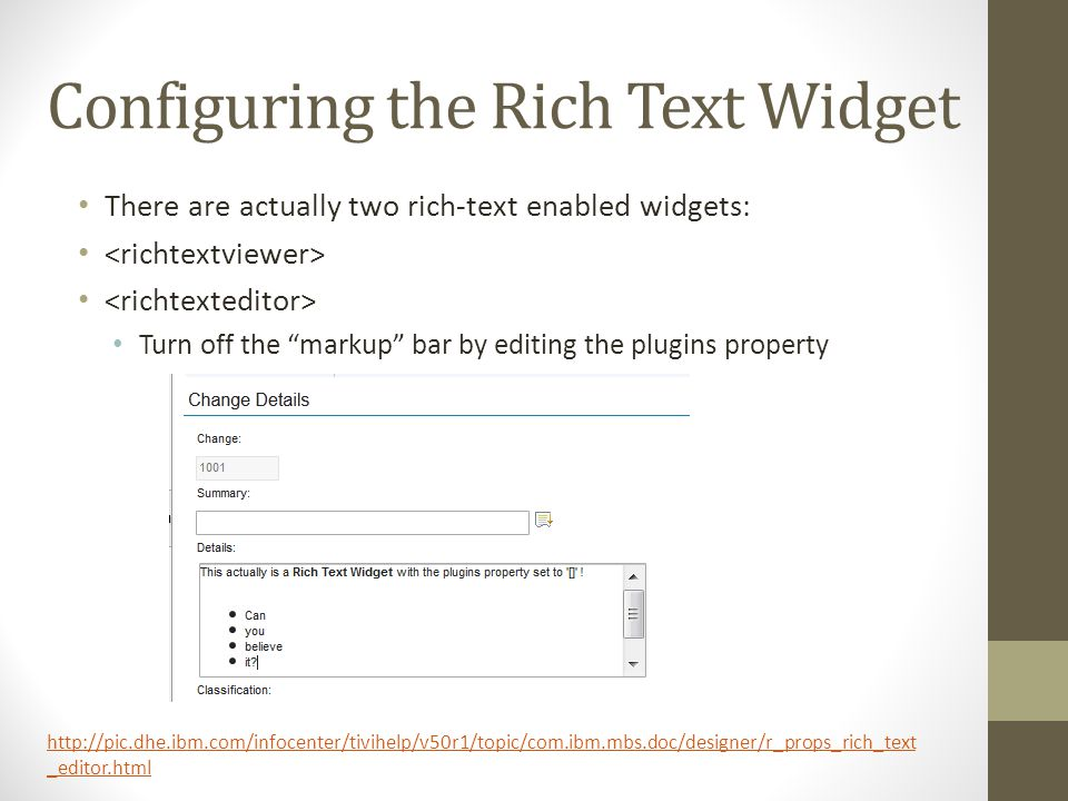 Configuring the Rich Text Widget