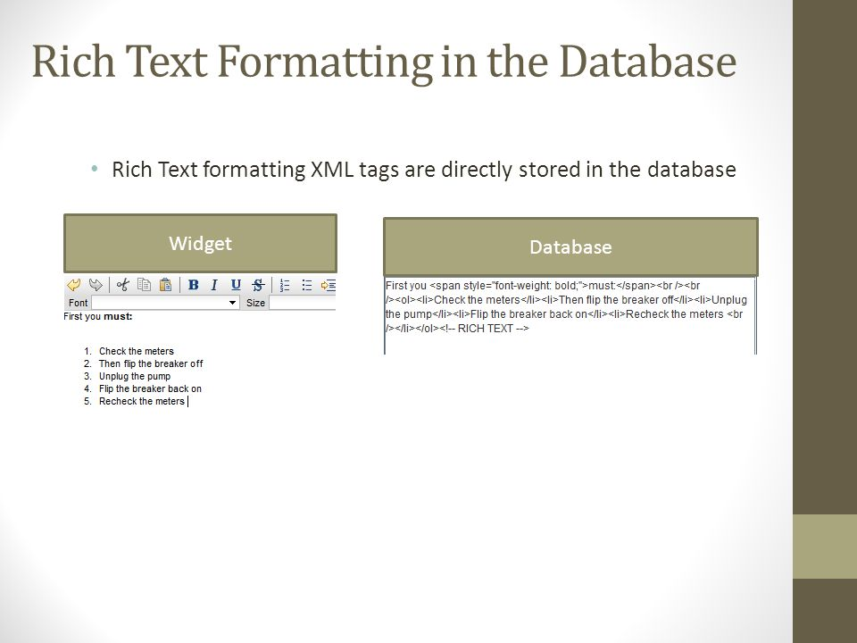 Rich Text Formatting in the Database