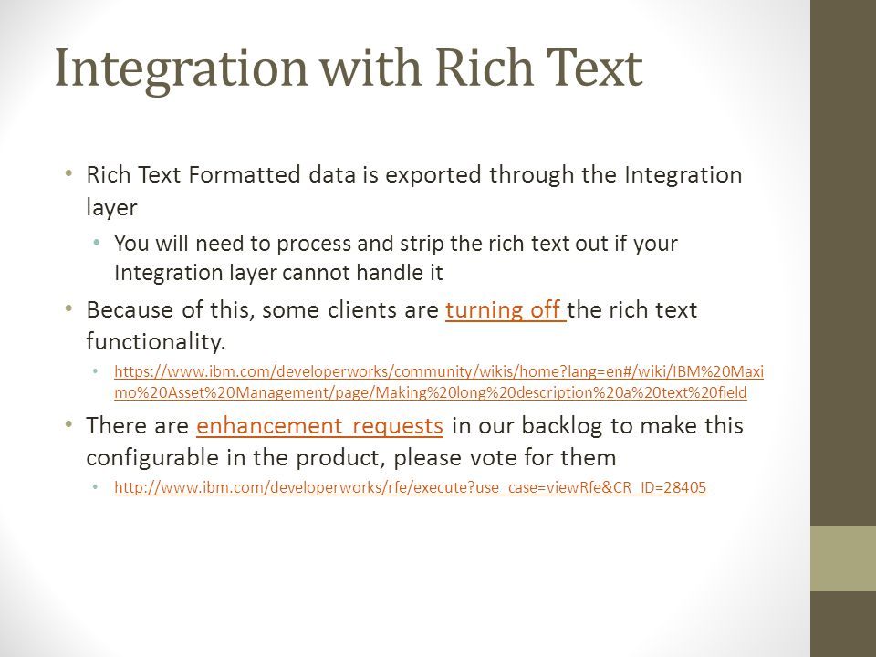 Integration with Rich Text