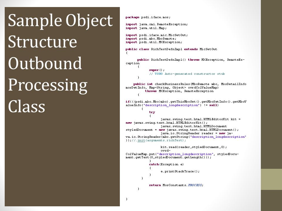Sample Object Structure Outbound Processing Class
