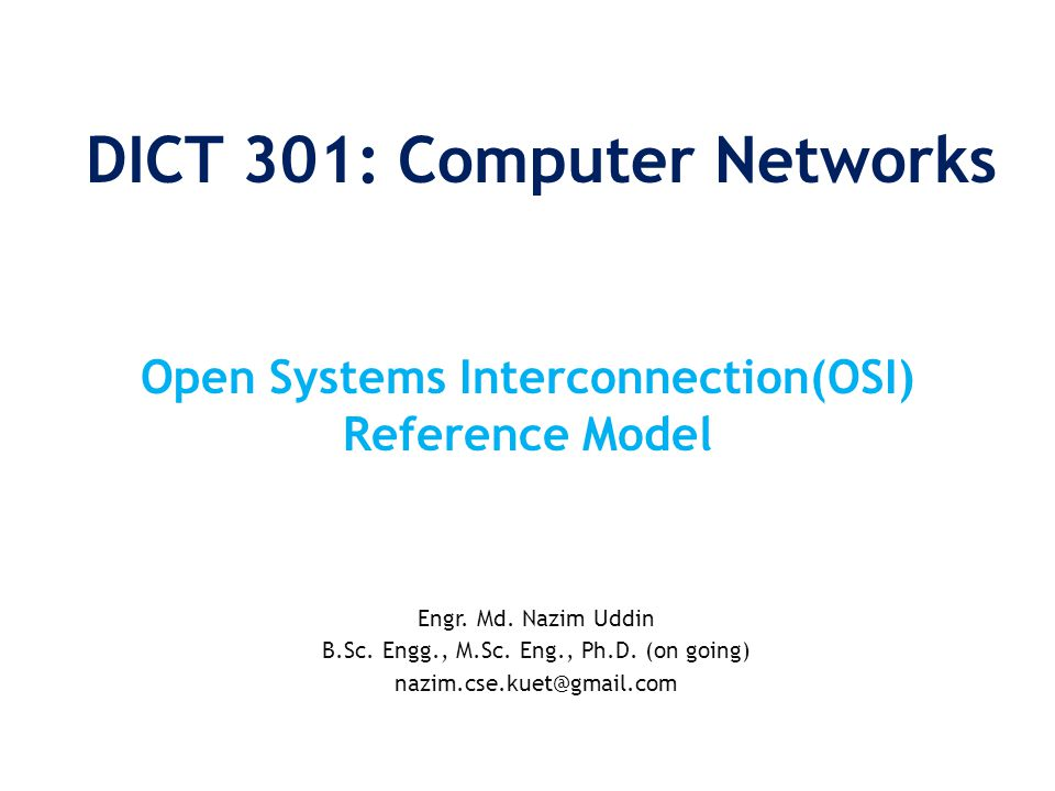 DICT 301: Computer Networks