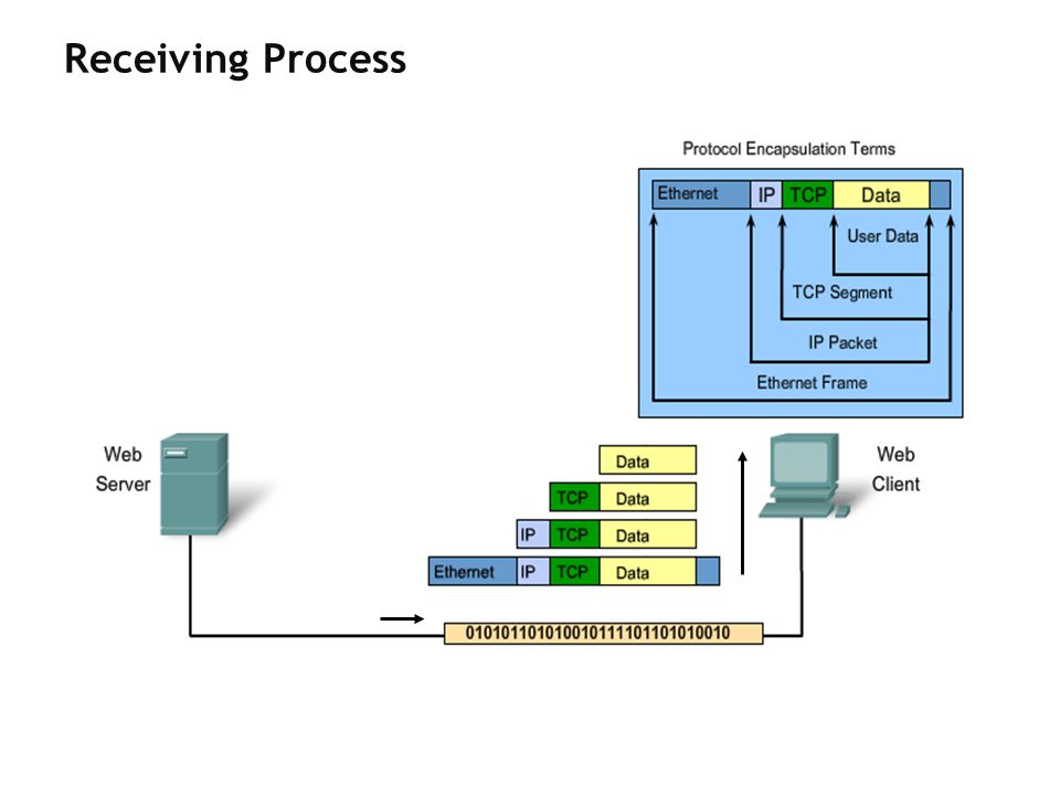 Receiving Process This process is reversed at the receiving host.