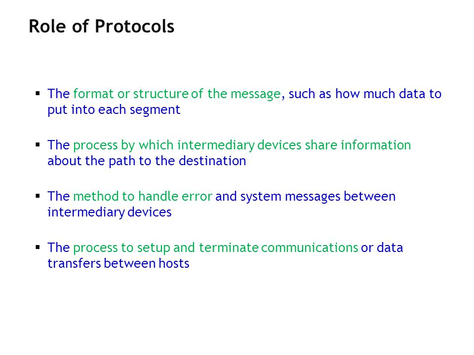 Role of Protocols The format or structure of the message, such as how much data to put into each segment.