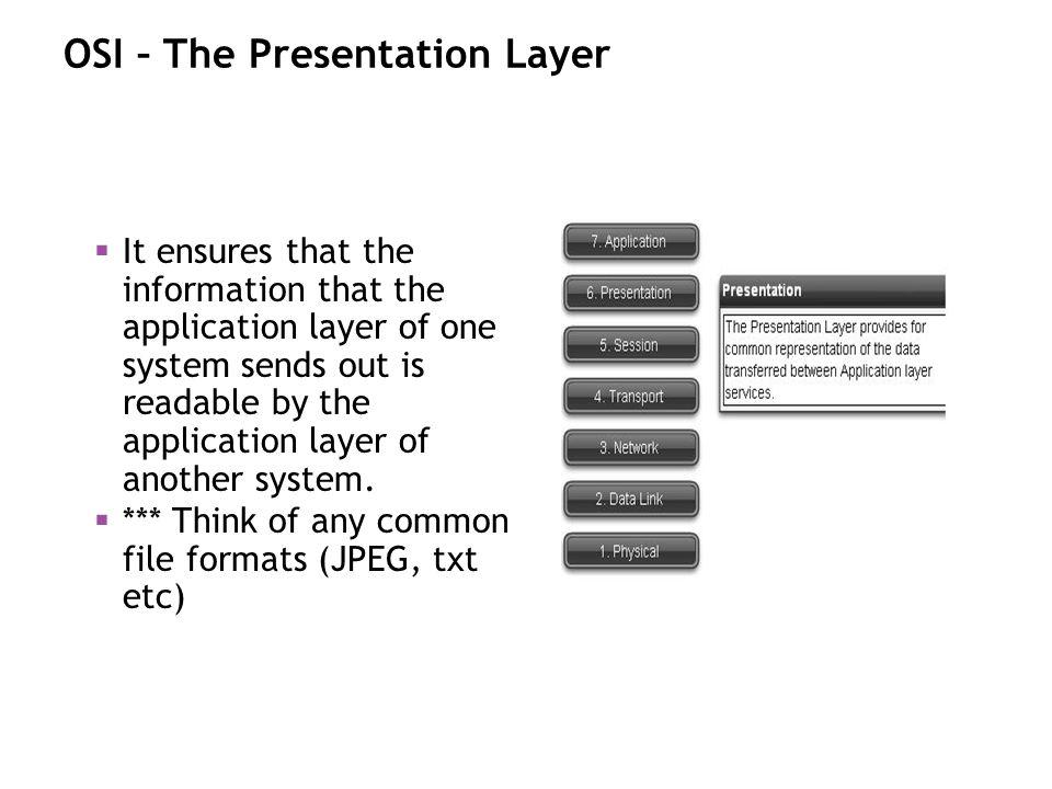 OSI – The Presentation Layer