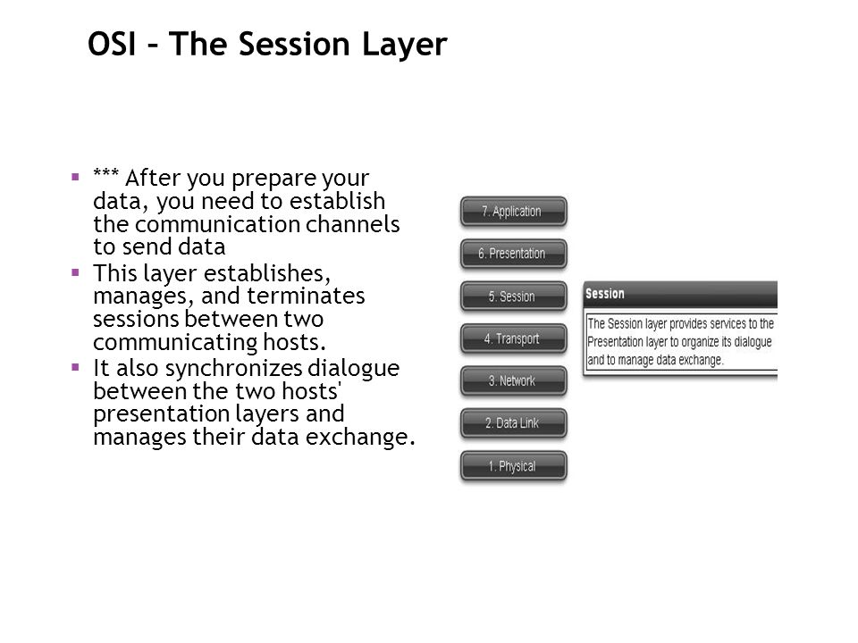 OSI – The Session Layer *** After you prepare your data, you need to establish the communication channels to send data.