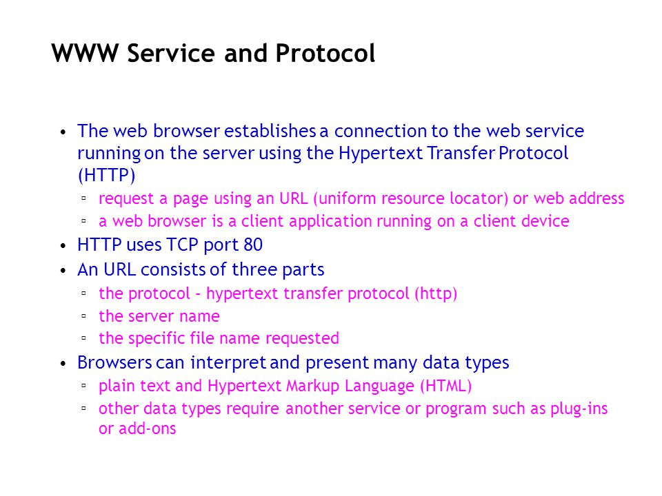 WWW Service and Protocol