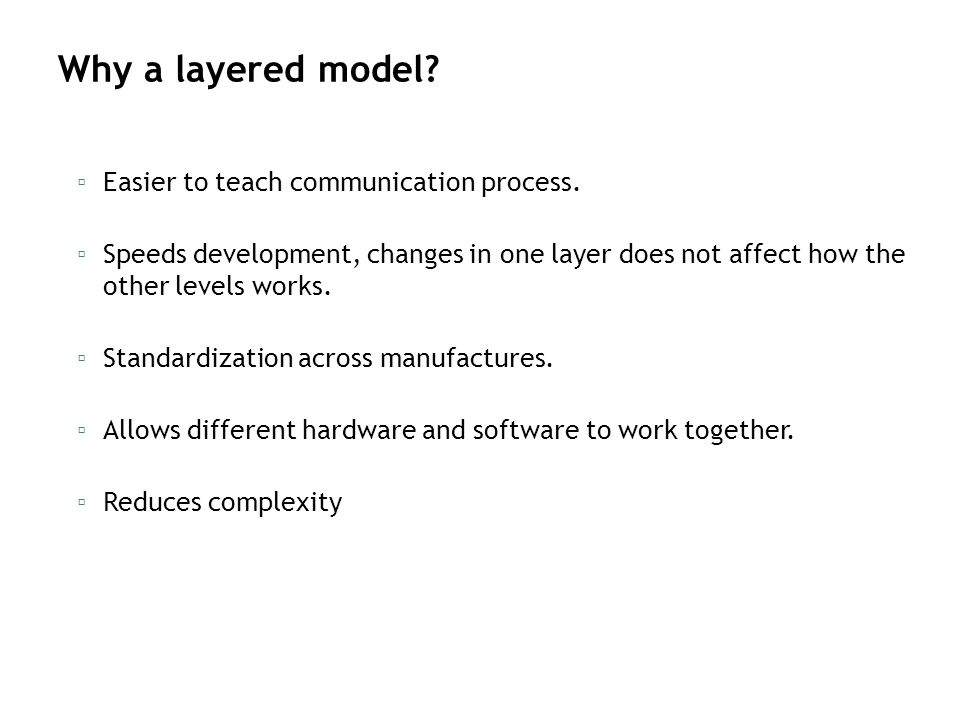 Why a layered model Easier to teach communication process.