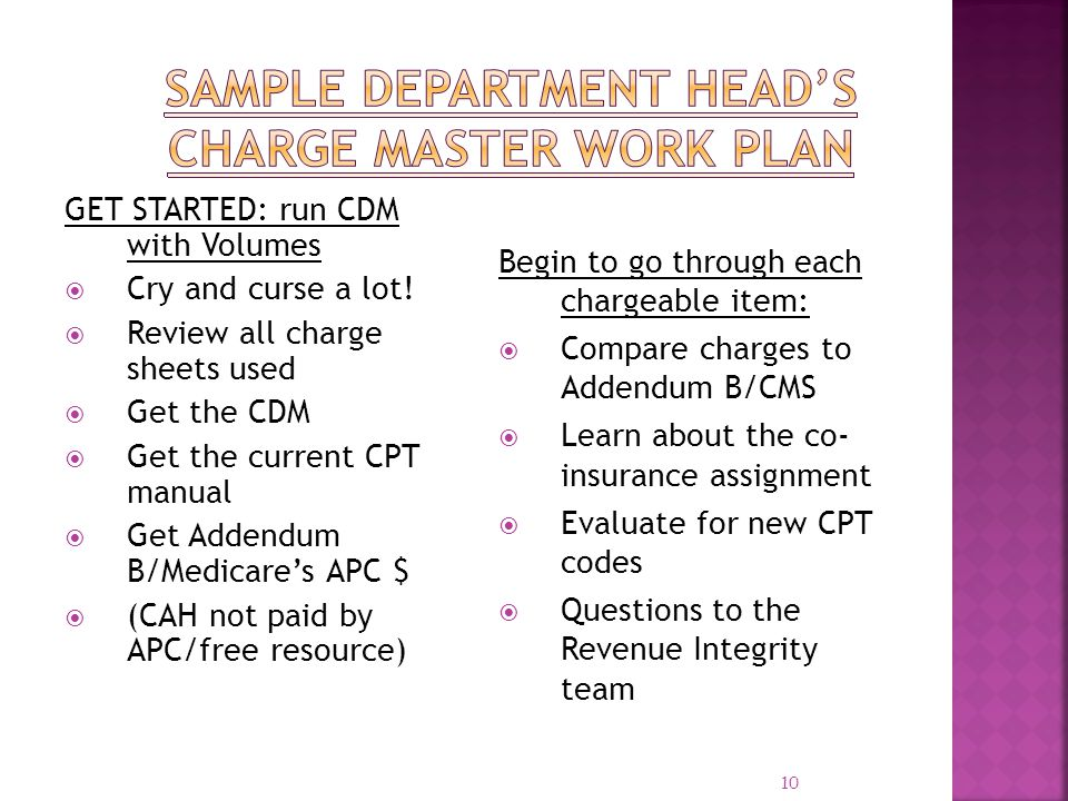 Sample Department Head's Charge Master Work Plan