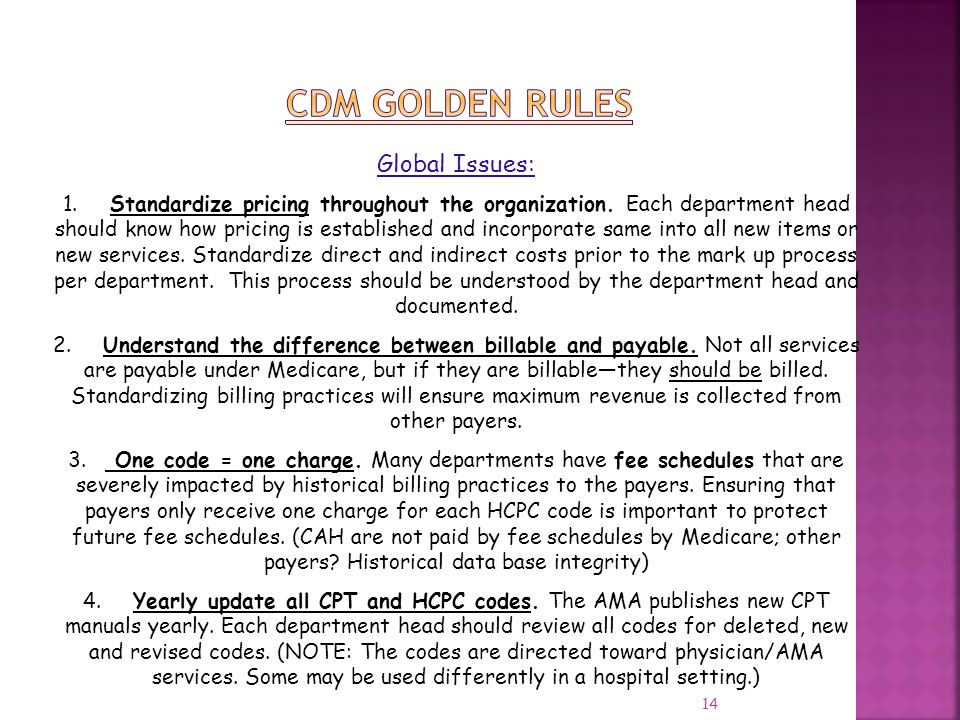 CDM GOLDEN RULES Global Issues: