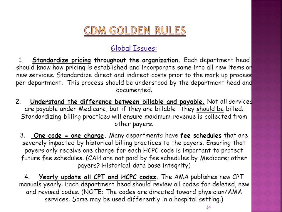 CDM GOLDEN RULES Global Issues: