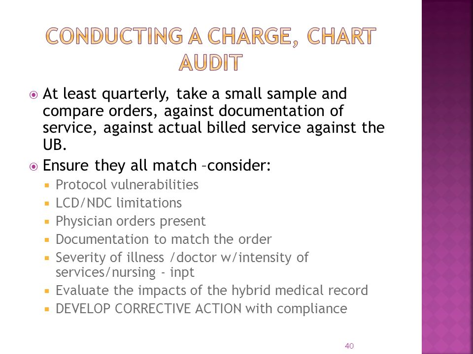 Conducting a Charge, Chart Audit