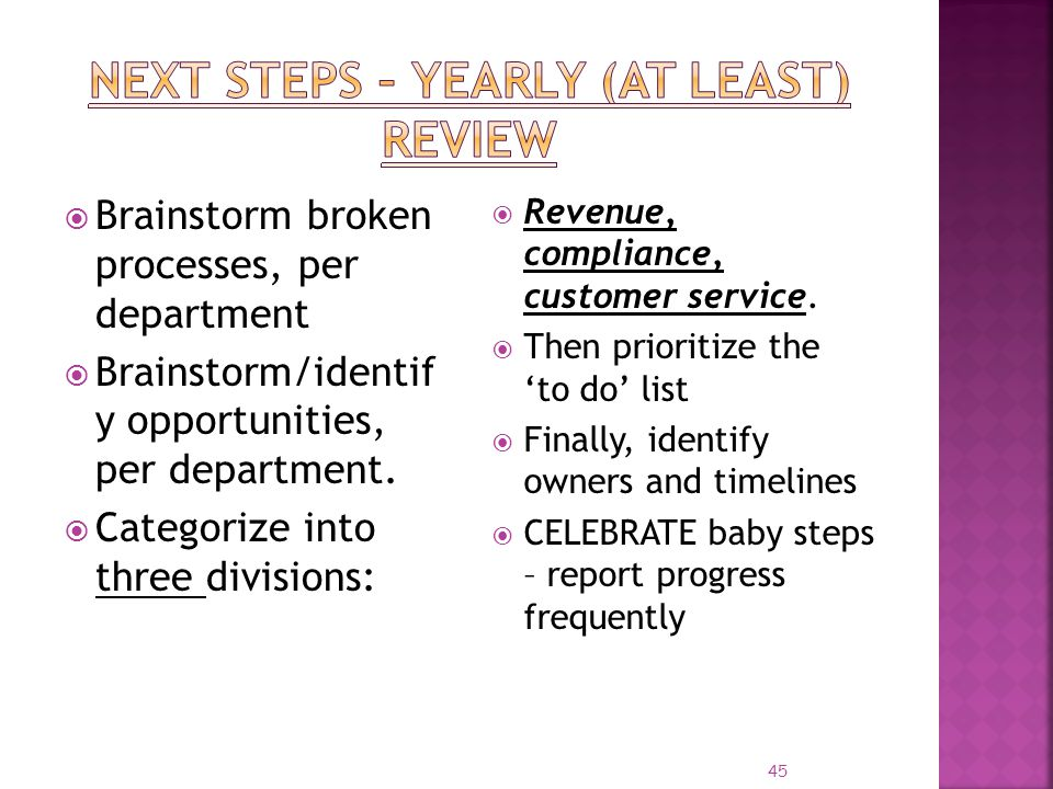 Next steps – Yearly (at least) Review