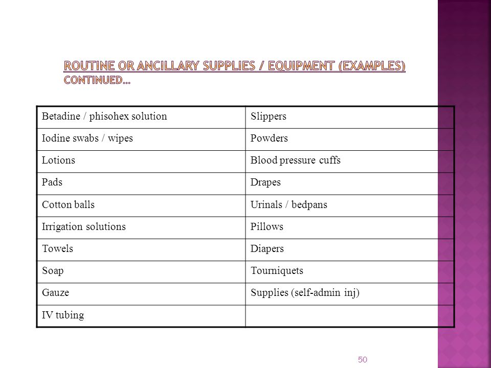 Routine or Ancillary Supplies / Equipment (Examples) Continued…