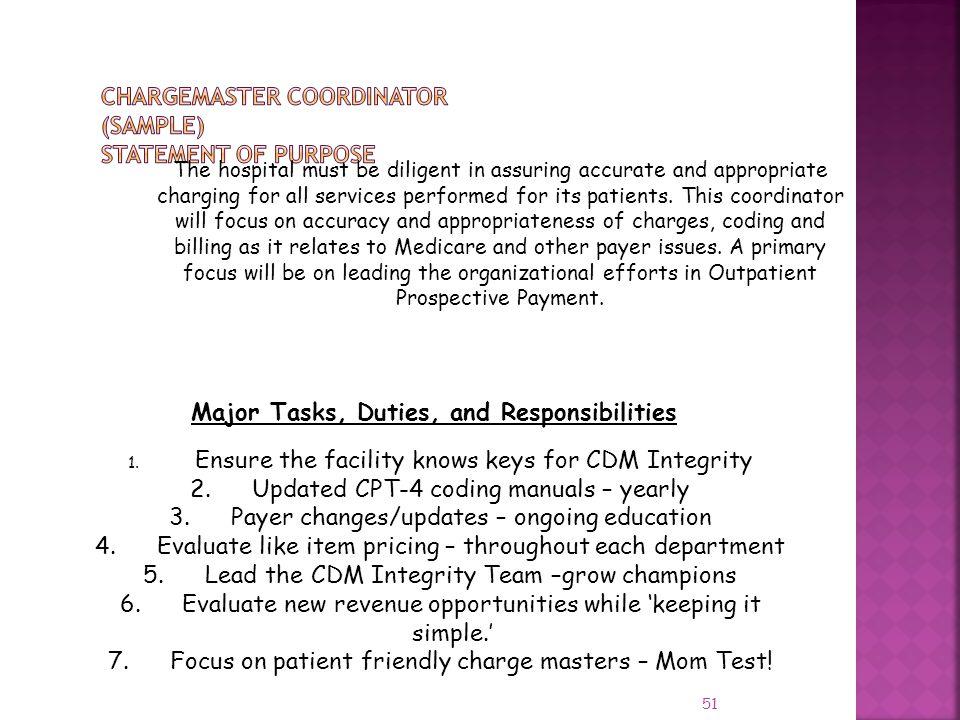 CHARGEMASTER COORDINATOR (Sample) Statement of Purpose